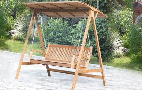 Xích đu gỗ sân vườn có mái che (ZXFM053)