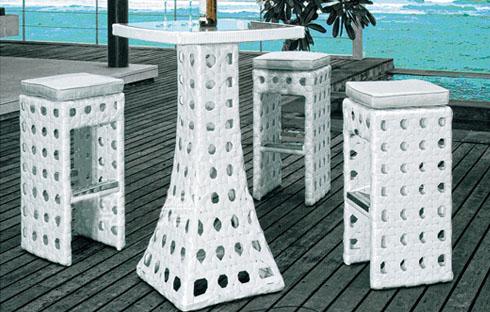 Bộ bàn ghế nhựa giả mây thiết kế sang trọng ZXFT022