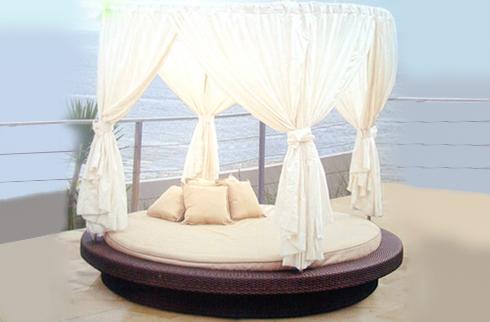 Giường nằm bãi biển nhựa giả mây JLM142