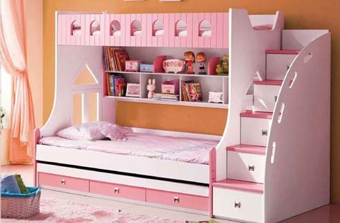 Mê mẩn 3 mẫu giường tầng cho bé gái với sắc hồng lung linh